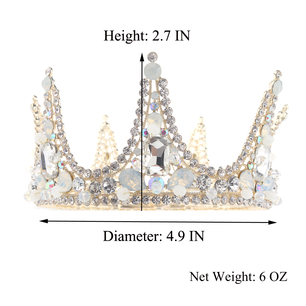 Wedding Crown and Tiara Gold Rhinestones Opal Queen Headband Hair Pieces for Women and Girls