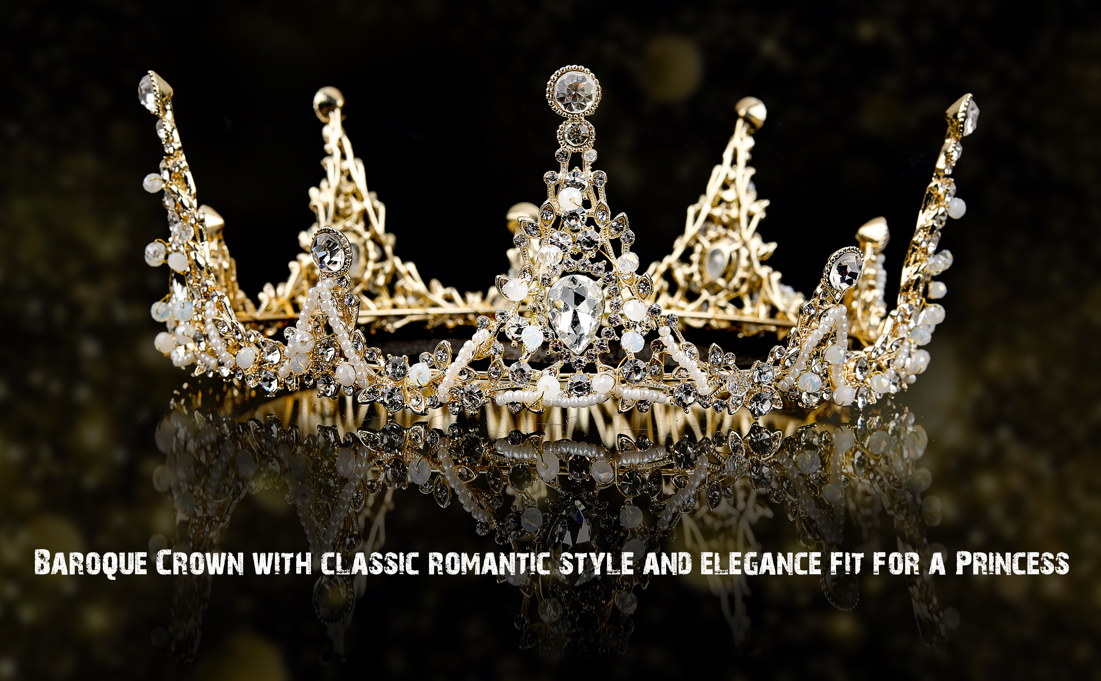 Gold Queen Crown and Tiara for Wedding, Party, Prom