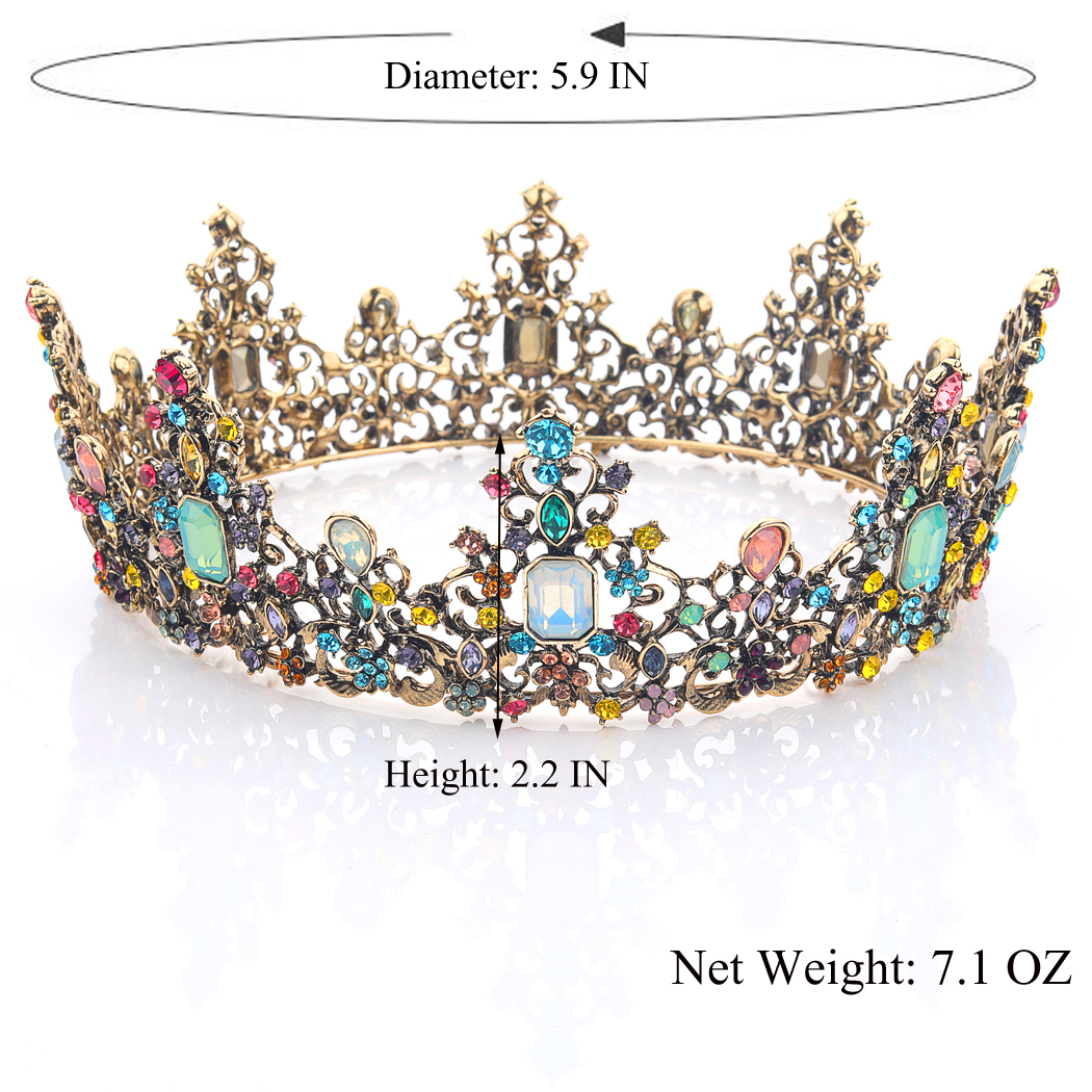 Baroque Wedding Round Crown and Tiara Queen Rhinestones Headband for Women and Girls