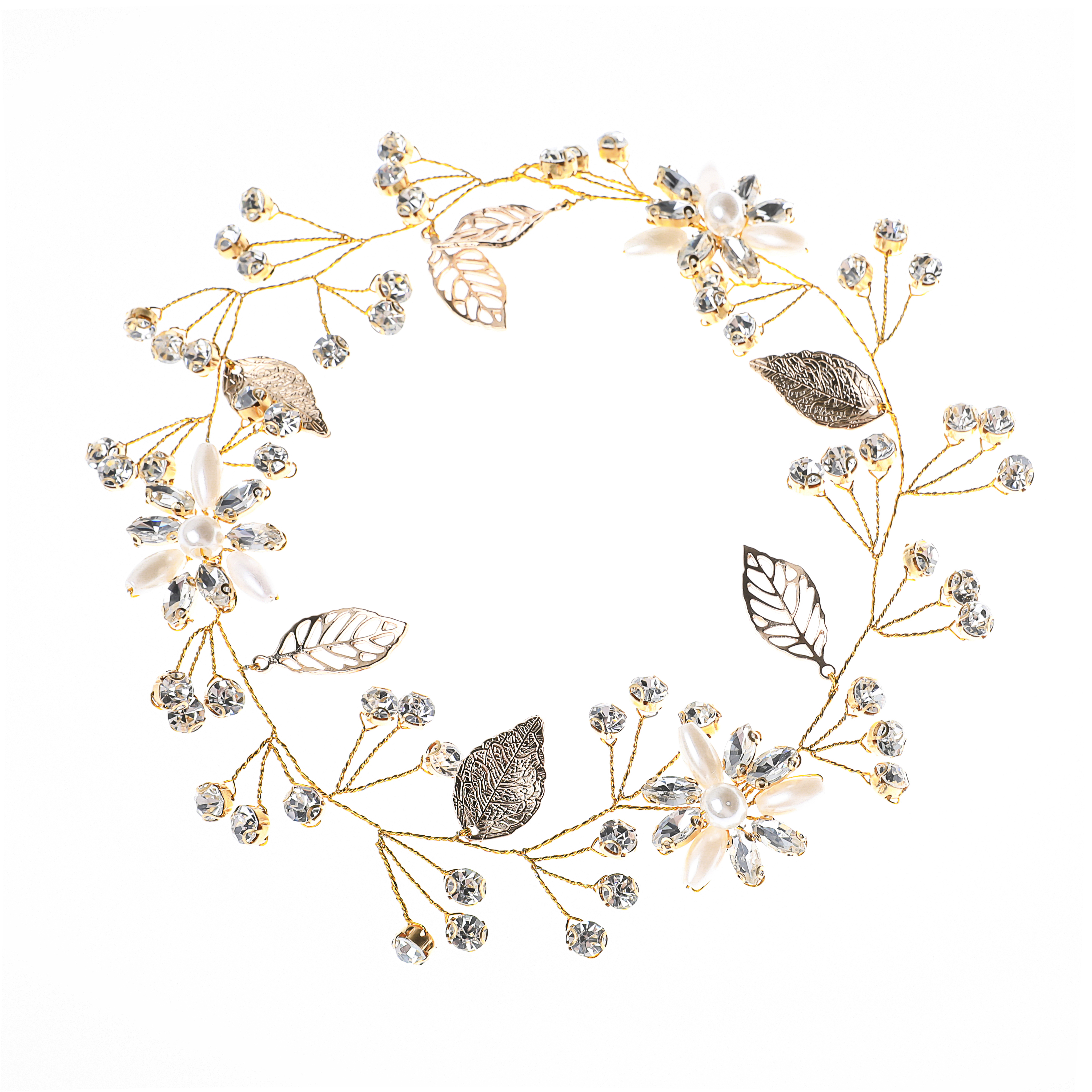 Leaf Headband Hair Vine Wedding Bridal Rhinestones Flower Gold Headpieces for Bride and Bridesmaid